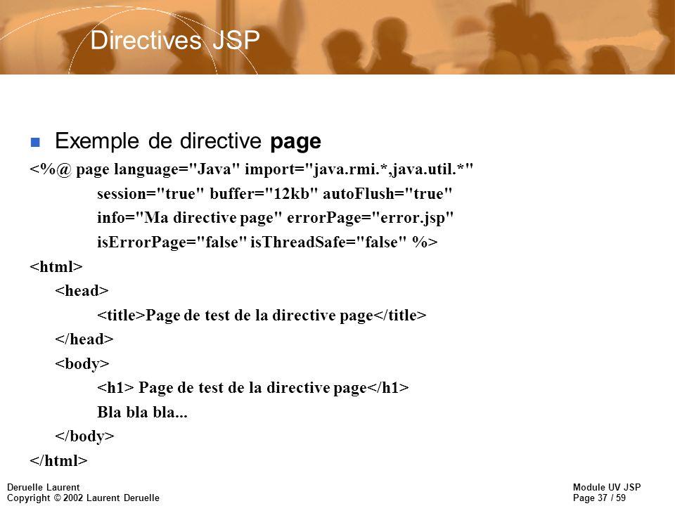 Module UV JSP Page 37 / 59 Deruelle Laurent Copyright © 2002 Laurent Deruelle Directives JSP Exemple de directive page <%@ page language=