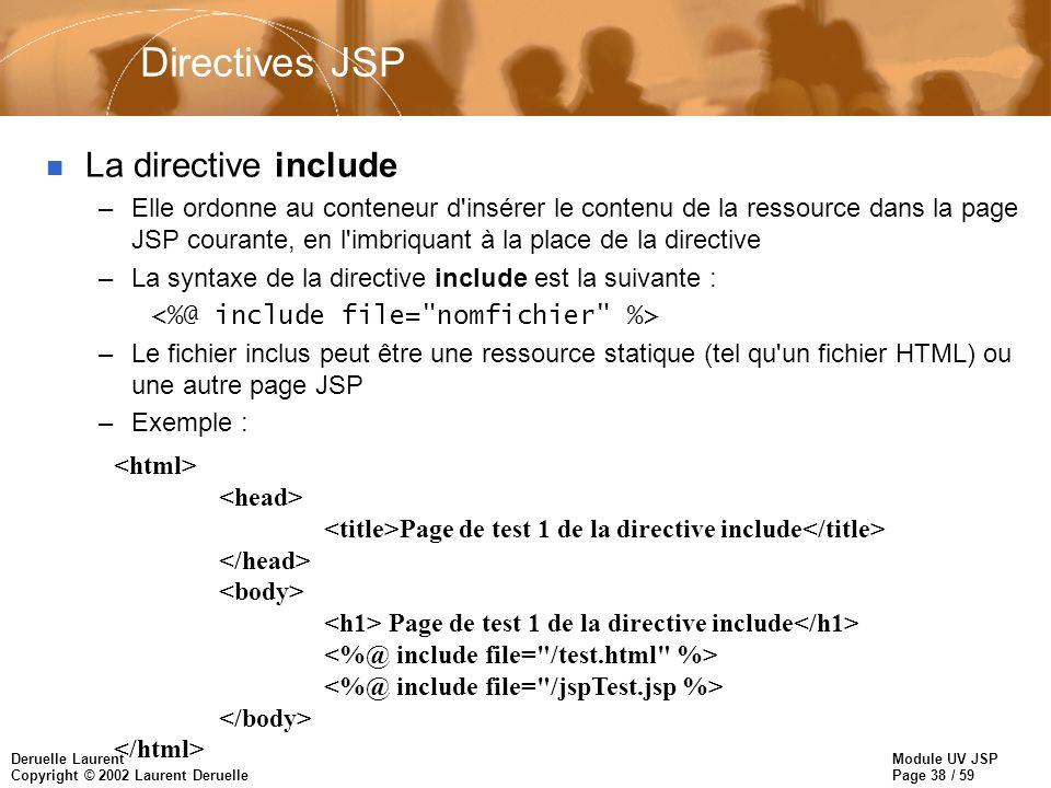 Module UV JSP Page 38 / 59 Deruelle Laurent Copyright © 2002 Laurent Deruelle Directives JSP n La directive include –Elle ordonne au conteneur d'insér