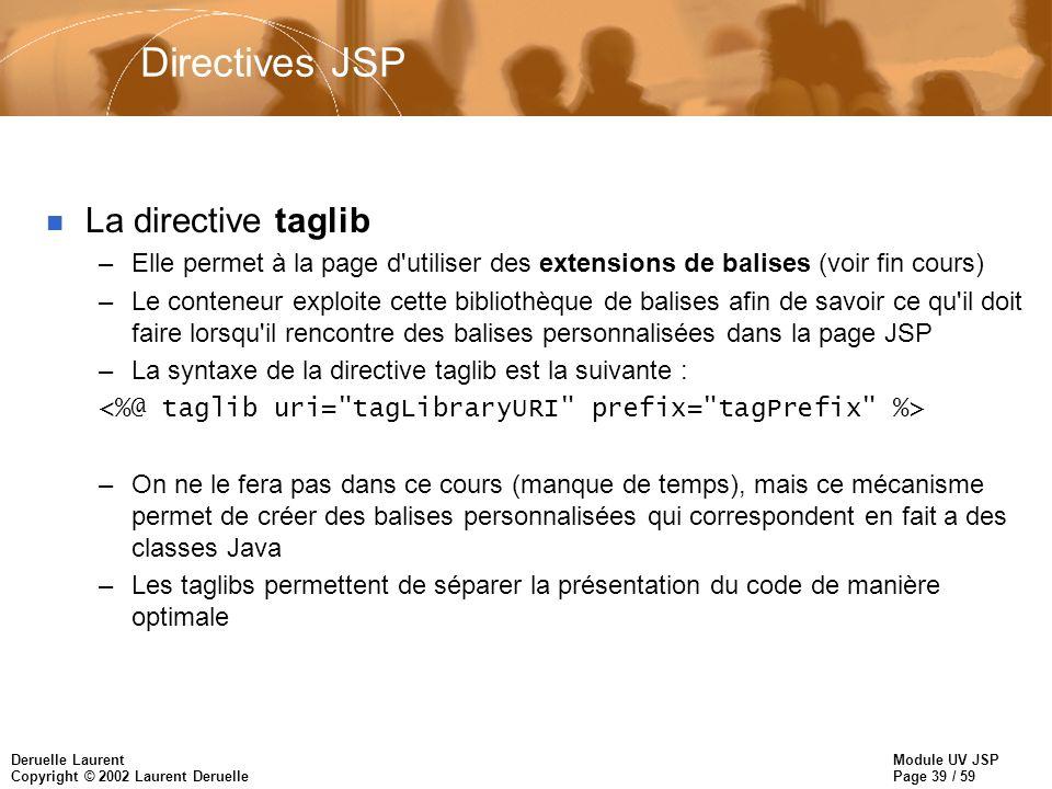 Module UV JSP Page 39 / 59 Deruelle Laurent Copyright © 2002 Laurent Deruelle Directives JSP n La directive taglib –Elle permet à la page d'utiliser d