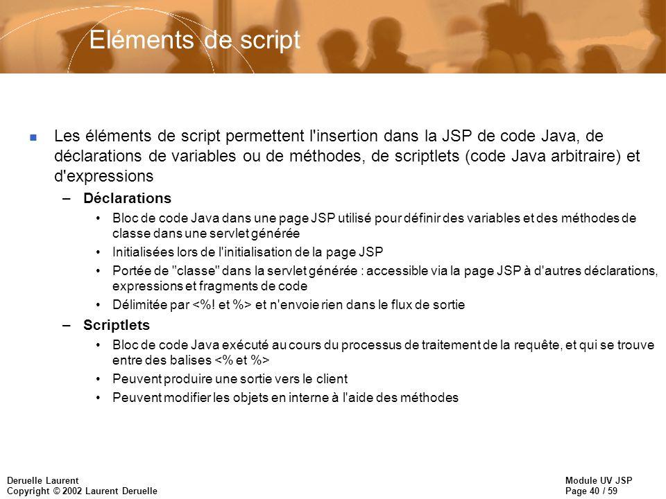Module UV JSP Page 40 / 59 Deruelle Laurent Copyright © 2002 Laurent Deruelle Eléments de script n Les éléments de script permettent l'insertion dans