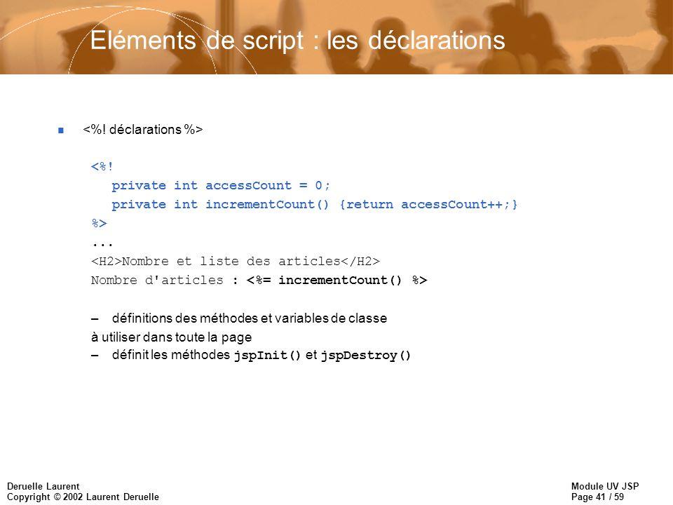 Module UV JSP Page 41 / 59 Deruelle Laurent Copyright © 2002 Laurent Deruelle Eléments de script : les déclarations n <%! private int accessCount = 0;