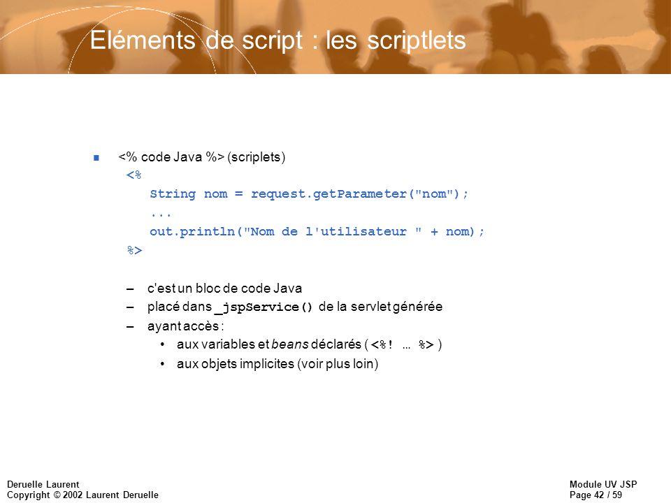Module UV JSP Page 42 / 59 Deruelle Laurent Copyright © 2002 Laurent Deruelle Eléments de script : les scriptlets n (scriplets) <% String nom = reques