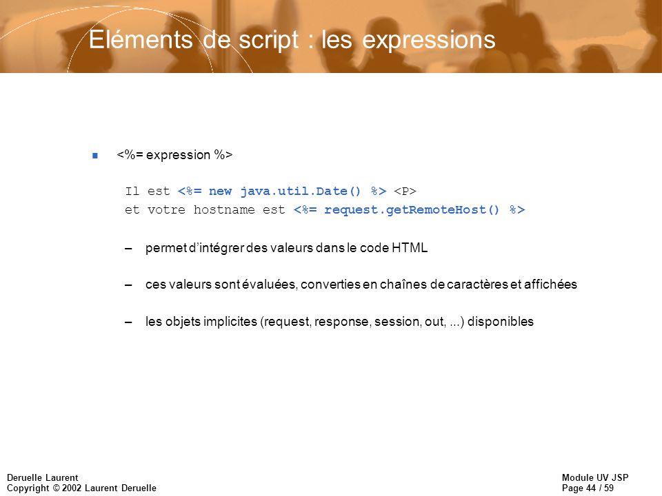 Module UV JSP Page 44 / 59 Deruelle Laurent Copyright © 2002 Laurent Deruelle Eléments de script : les expressions n Il est et votre hostname est –per