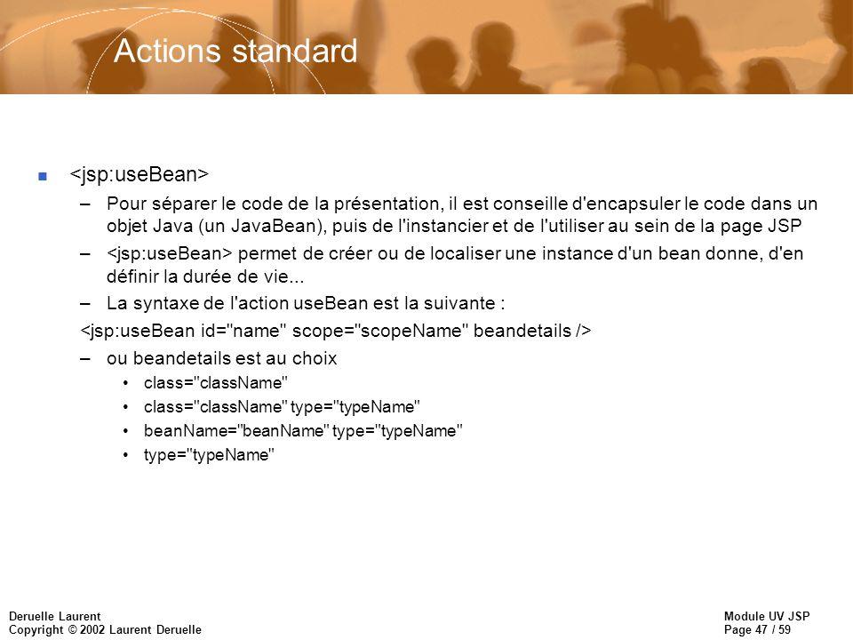Module UV JSP Page 47 / 59 Deruelle Laurent Copyright © 2002 Laurent Deruelle Actions standard n –Pour séparer le code de la présentation, il est cons