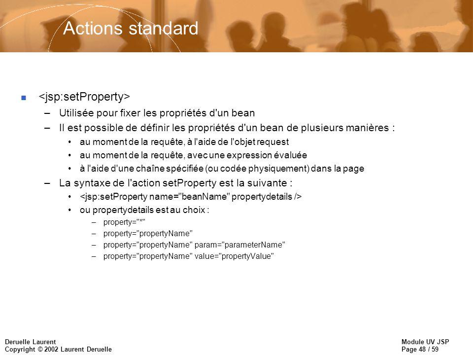 Module UV JSP Page 48 / 59 Deruelle Laurent Copyright © 2002 Laurent Deruelle Actions standard n –Utilisée pour fixer les propriétés d'un bean –Il est