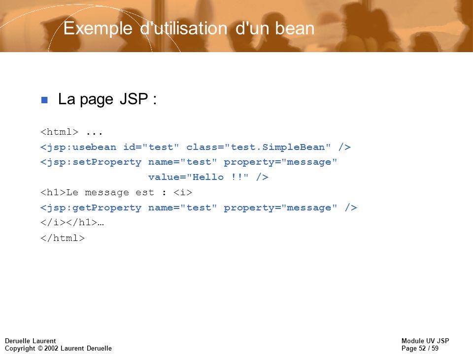 Module UV JSP Page 52 / 59 Deruelle Laurent Copyright © 2002 Laurent Deruelle Exemple d'utilisation d'un bean n La page JSP :... <jsp:setProperty name