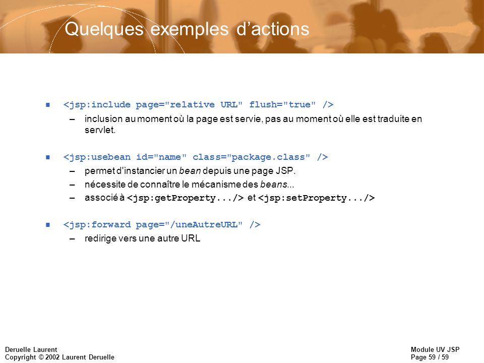 Module UV JSP Page 59 / 59 Deruelle Laurent Copyright © 2002 Laurent Deruelle Quelques exemples dactions n –inclusion au moment où la page est servie,