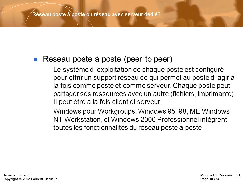 Module UV Réseaus / SD Page 10 / 84 Deruelle Laurent Copyright © 2002 Laurent Deruelle Réseau poste à poste ou réseau avec serveur dédié? n Réseau pos
