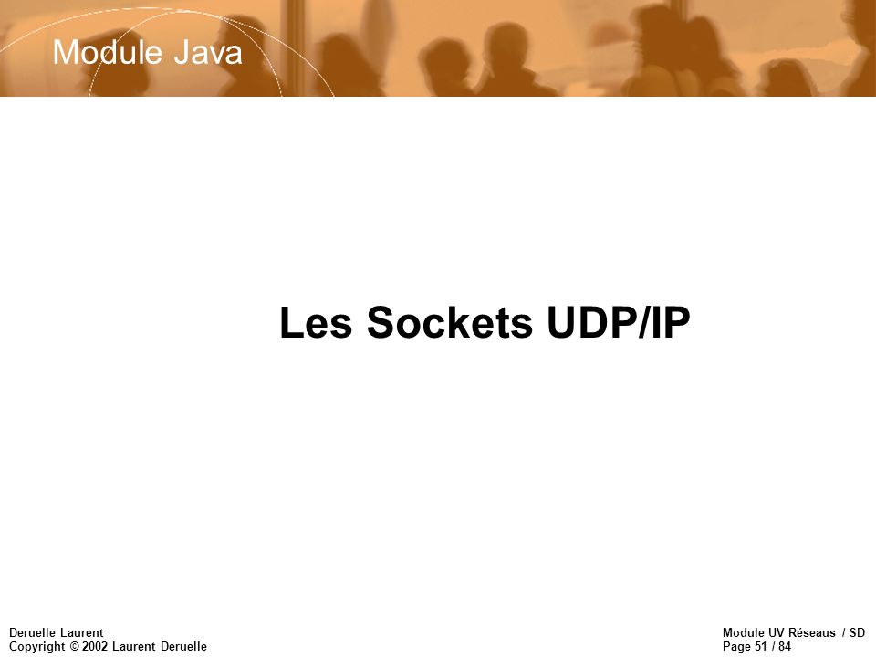 Module UV Réseaus / SD Page 51 / 84 Deruelle Laurent Copyright © 2002 Laurent Deruelle Les Sockets UDP/IP Module Java