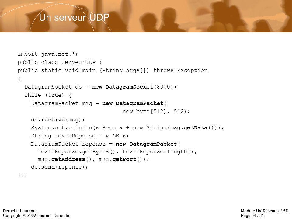 Module UV Réseaus / SD Page 54 / 84 Deruelle Laurent Copyright © 2002 Laurent Deruelle Un serveur UDP import java.net.*; public class ServeurUDP { pub