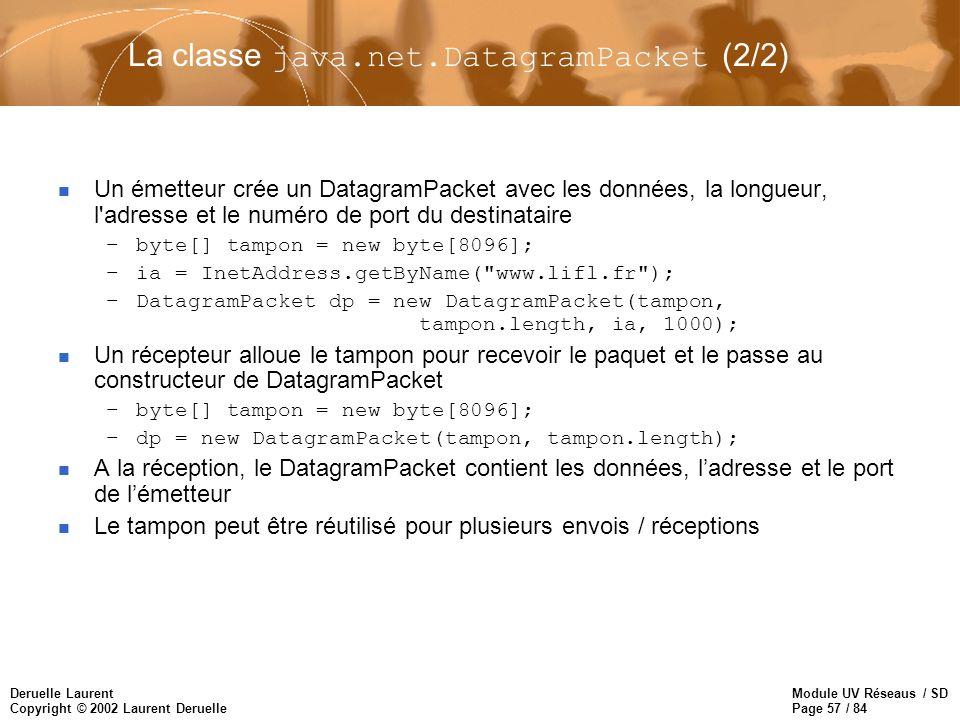 Module UV Réseaus / SD Page 57 / 84 Deruelle Laurent Copyright © 2002 Laurent Deruelle La classe java.net.DatagramPacket (2/2) n Un émetteur crée un D