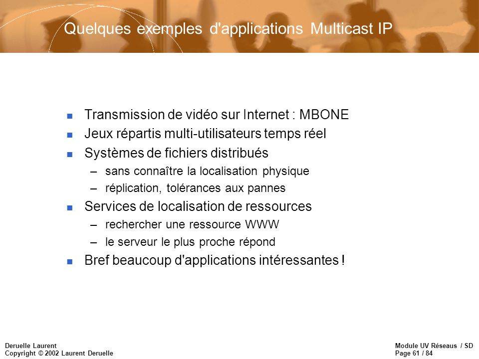 Module UV Réseaus / SD Page 61 / 84 Deruelle Laurent Copyright © 2002 Laurent Deruelle Quelques exemples d'applications Multicast IP n Transmission de