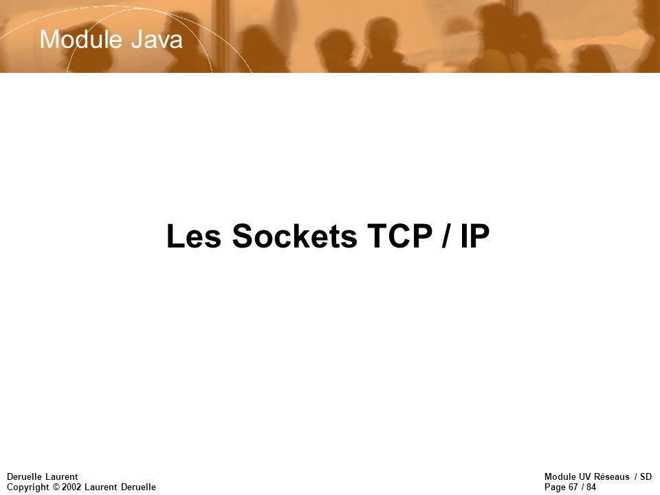 Module UV Réseaus / SD Page 67 / 84 Deruelle Laurent Copyright © 2002 Laurent Deruelle Les Sockets TCP / IP Module Java