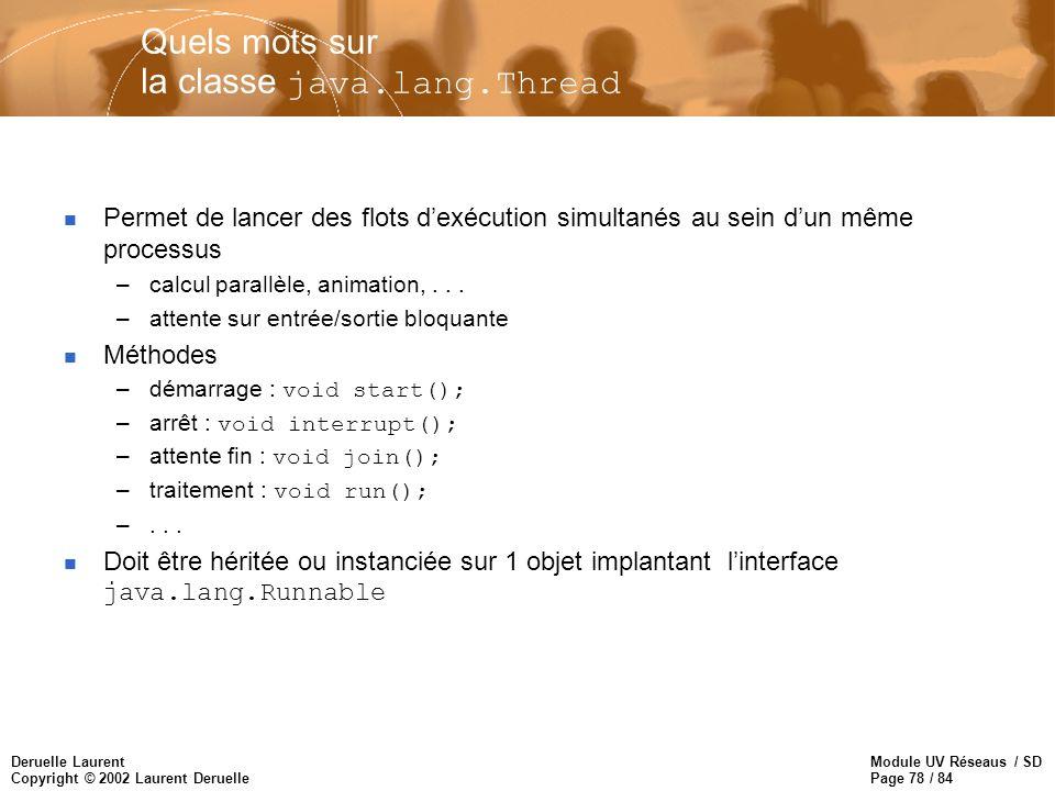 Module UV Réseaus / SD Page 78 / 84 Deruelle Laurent Copyright © 2002 Laurent Deruelle Quels mots sur la classe java.lang.Thread n Permet de lancer de