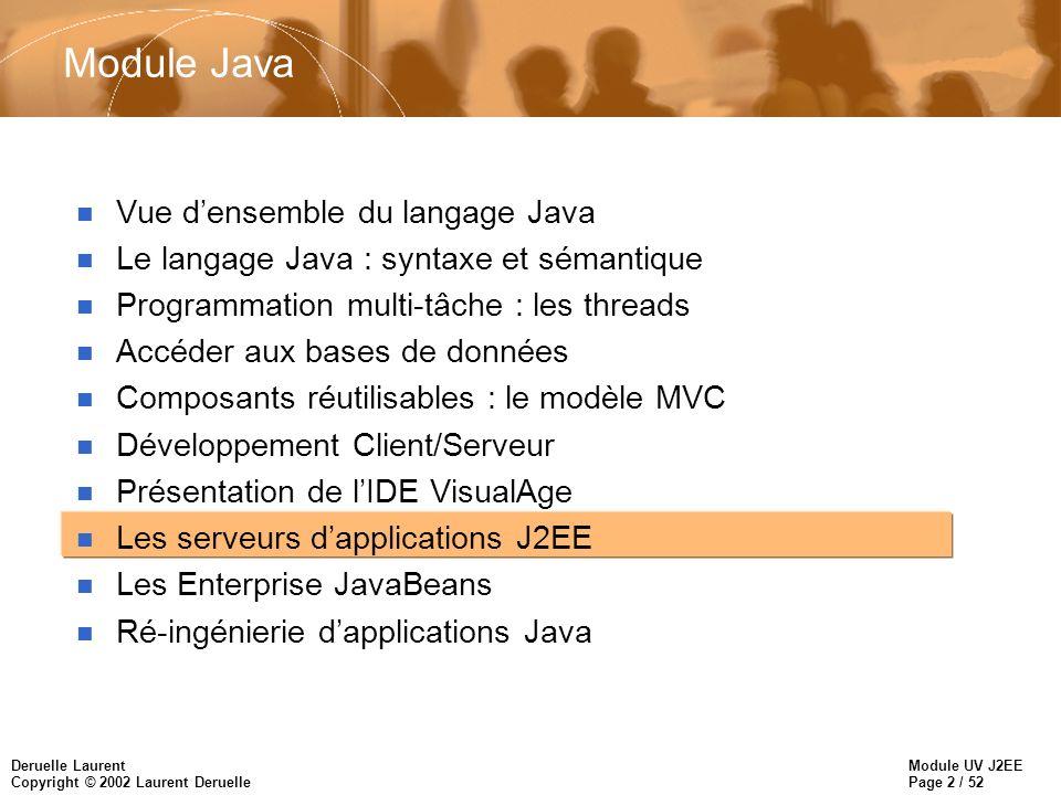 Module UV J2EE Page 3 / 52 Deruelle Laurent Copyright © 2002 Laurent Deruelle Présentation de J2EE n Java 2 Platform, Enterprise Edition est sorti officiellement à Java One en 1998 en même temps que les Enterprise JavaBeans.