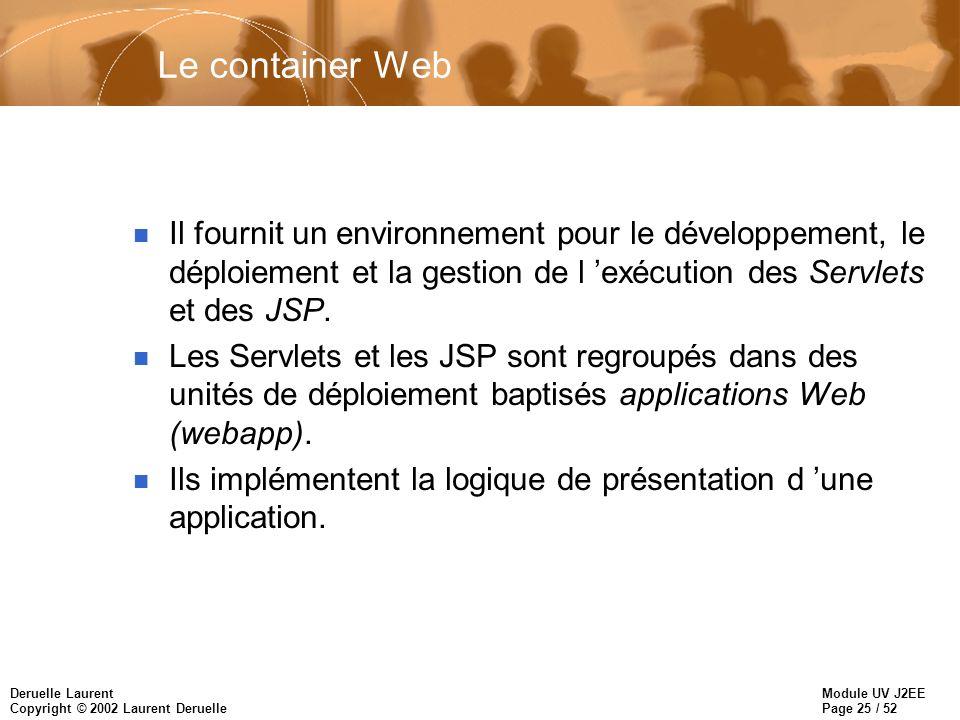 Module UV J2EE Page 25 / 52 Deruelle Laurent Copyright © 2002 Laurent Deruelle Le container Web n Il fournit un environnement pour le développement, l