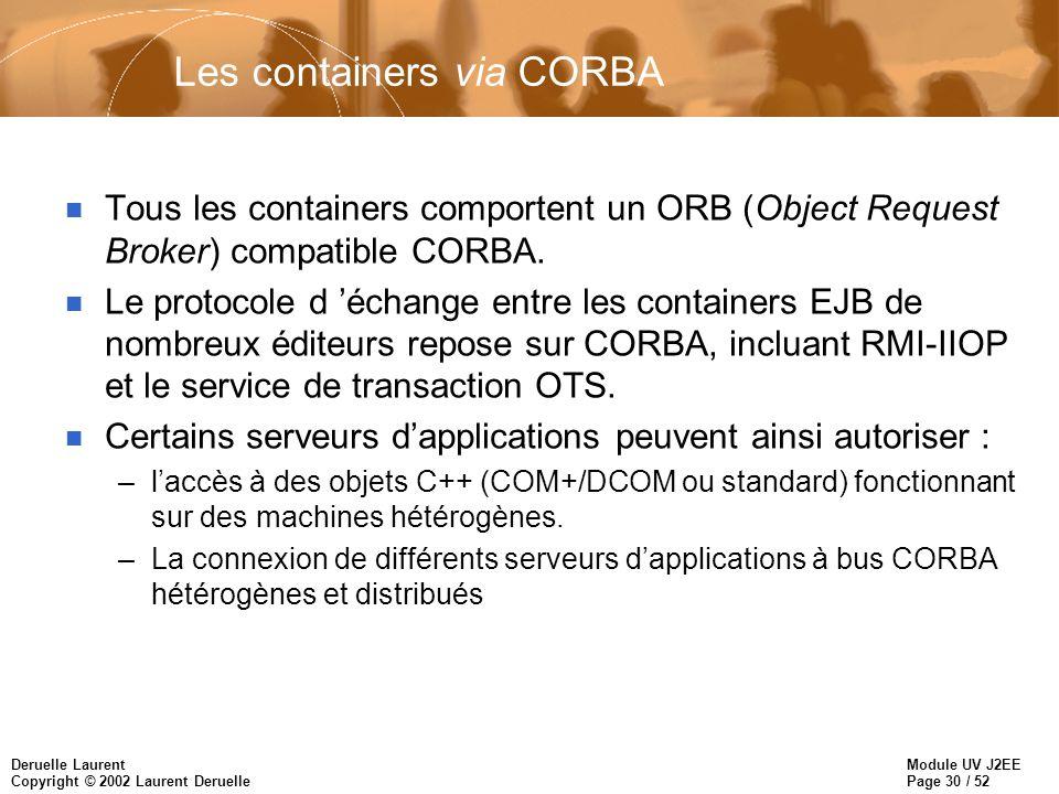 Module UV J2EE Page 30 / 52 Deruelle Laurent Copyright © 2002 Laurent Deruelle Les containers via CORBA n Tous les containers comportent un ORB (Objec