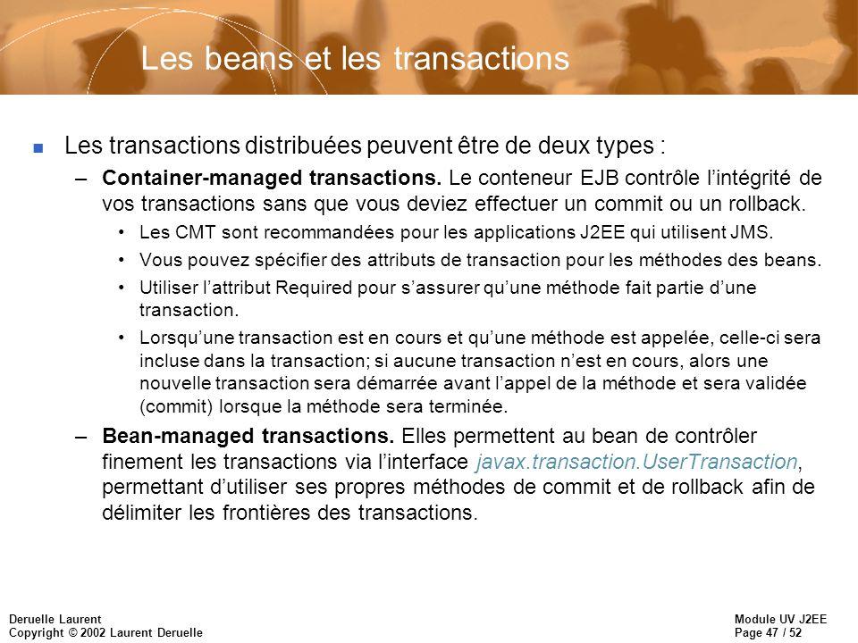 Module UV J2EE Page 47 / 52 Deruelle Laurent Copyright © 2002 Laurent Deruelle Les beans et les transactions n Les transactions distribuées peuvent êt