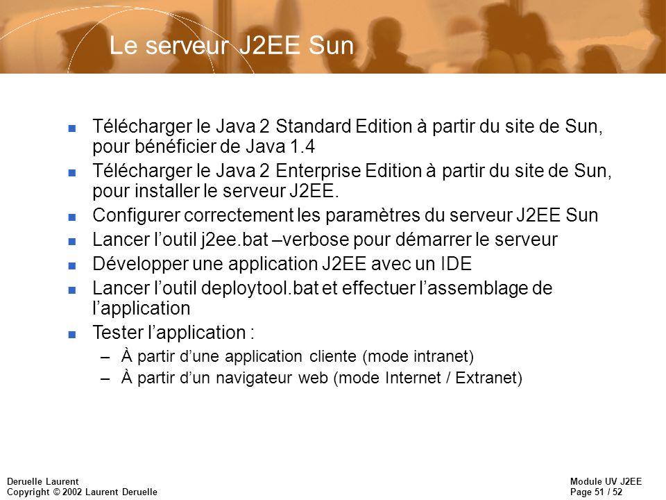 Module UV J2EE Page 51 / 52 Deruelle Laurent Copyright © 2002 Laurent Deruelle Le serveur J2EE Sun n Télécharger le Java 2 Standard Edition à partir d