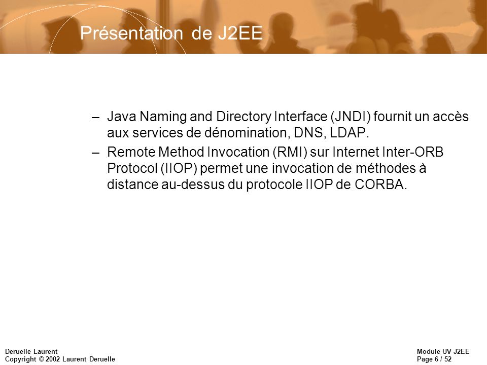 Module UV J2EE Page 6 / 52 Deruelle Laurent Copyright © 2002 Laurent Deruelle Présentation de J2EE –Java Naming and Directory Interface (JNDI) fournit