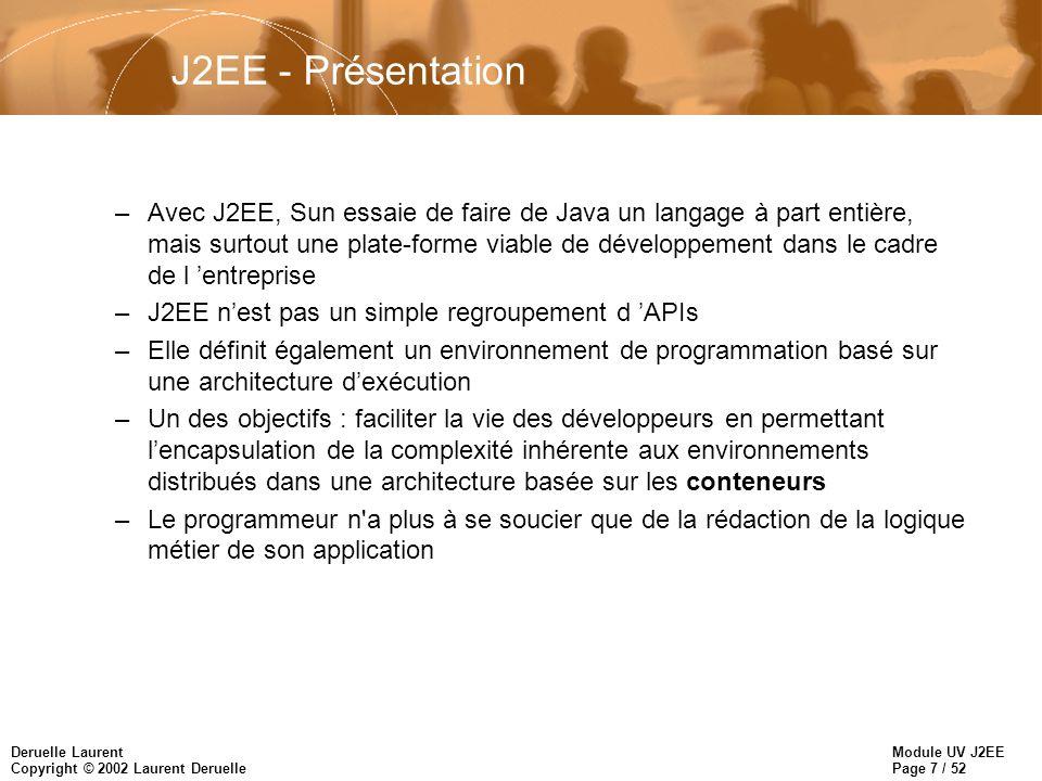 Module UV J2EE Page 8 / 52 Deruelle Laurent Copyright © 2002 Laurent Deruelle La plate-forme J2EE n Environnement d exécution de J2EE –J2EE se contente de regrouper un certain nombre d API, mais il présente également la caractéristique remarquable de faire abstraction de l infrastructure d exécution => Juste une spécification, ensuite implantée par les éditeurs logiciels qui mettent au point les serveurs d applications –Informatique distribuée traditionnelle = souvent problèmes liés non pas à la logique propre à l application mais à la mise en œuvre de services complexes (threading, transactions, sécurité…) –J2EE introduit la notion de conteneur, et via les API J2EE, il élabore un contrat entre le conteneur et les applications –C est le vendeur du conteneur qui se charge de mettre en œuvre les services pour les développeurs d applications J2EE, dans le respect des standards