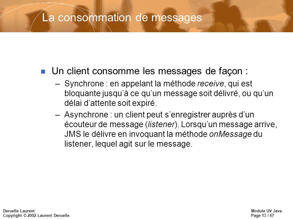 Module UV Java Page 13 / 67 Deruelle Laurent Copyright © 2002 Laurent Deruelle La consommation de messages n Un client consomme les messages de façon