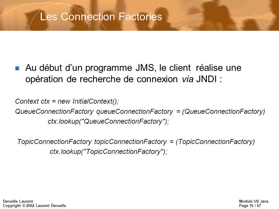 Module UV Java Page 16 / 67 Deruelle Laurent Copyright © 2002 Laurent Deruelle Les Connection Factories n Au début dun programme JMS, le client réalise une opération de recherche de connexion via JNDI : Context ctx = new InitialContext(); QueueConnectionFactory queueConnectionFactory = (QueueConnectionFactory) ctx.lookup( QueueConnectionFactory ); TopicConnectionFactory topicConnectionFactory = (TopicConnectionFactory) ctx.lookup( TopicConnectionFactory );