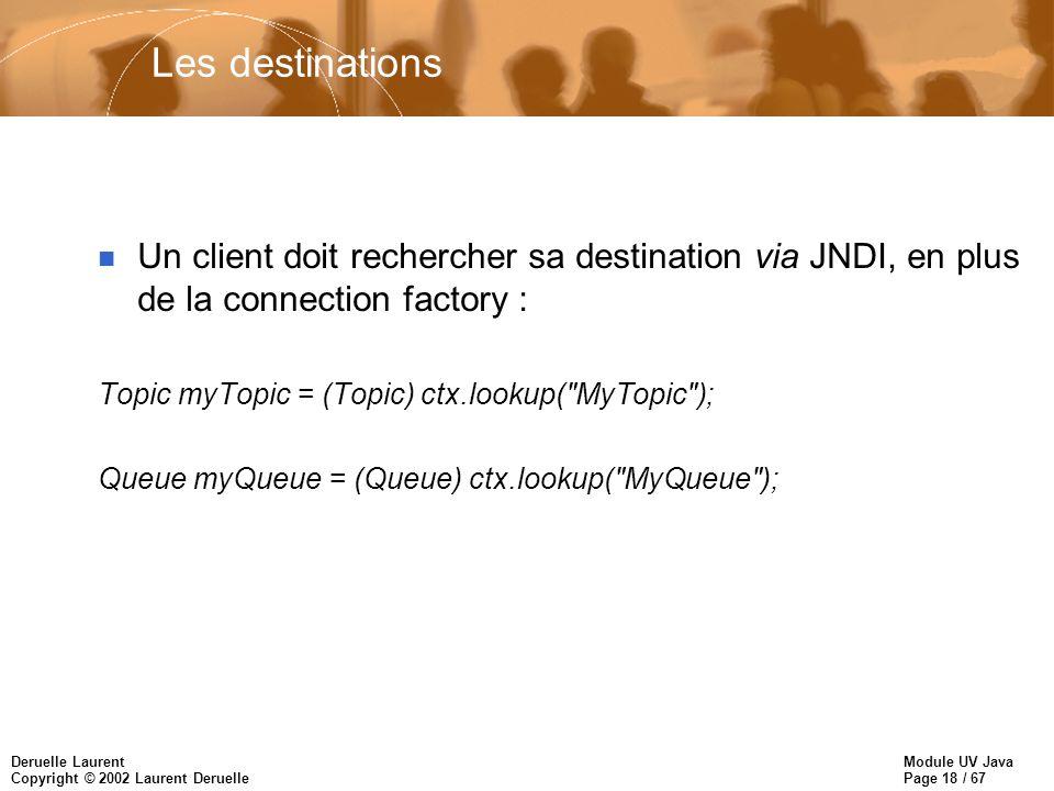Module UV Java Page 18 / 67 Deruelle Laurent Copyright © 2002 Laurent Deruelle Les destinations n Un client doit rechercher sa destination via JNDI, en plus de la connection factory : Topic myTopic = (Topic) ctx.lookup( MyTopic ); Queue myQueue = (Queue) ctx.lookup( MyQueue );