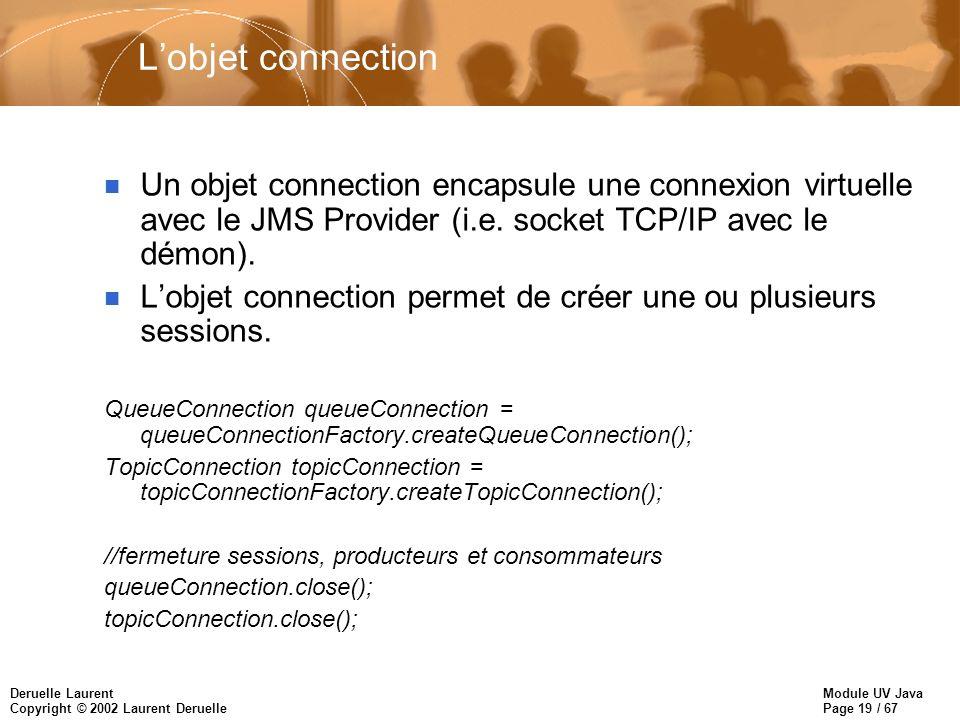 Module UV Java Page 19 / 67 Deruelle Laurent Copyright © 2002 Laurent Deruelle Lobjet connection n Un objet connection encapsule une connexion virtuelle avec le JMS Provider (i.e.