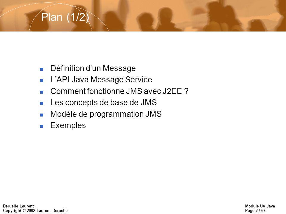 Module UV Java Page 2 / 67 Deruelle Laurent Copyright © 2002 Laurent Deruelle Plan (1/2) n Définition dun Message n LAPI Java Message Service n Comment fonctionne JMS avec J2EE .