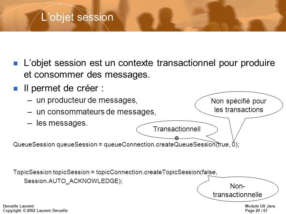 Module UV Java Page 20 / 67 Deruelle Laurent Copyright © 2002 Laurent Deruelle Lobjet session n Lobjet session est un contexte transactionnel pour produire et consommer des messages.