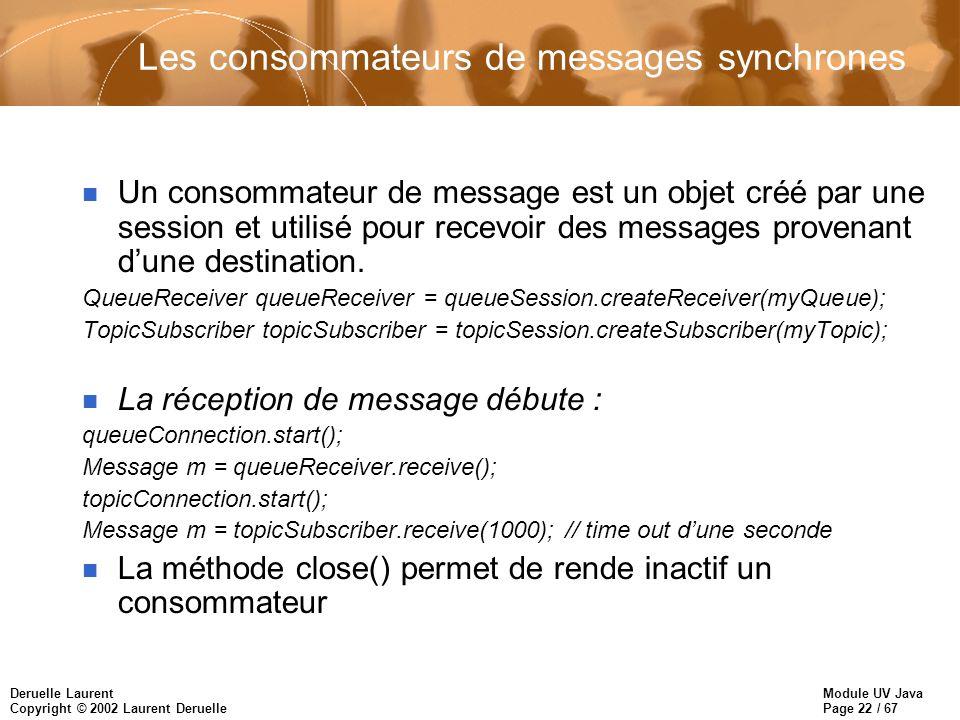 Module UV Java Page 22 / 67 Deruelle Laurent Copyright © 2002 Laurent Deruelle Les consommateurs de messages synchrones n Un consommateur de message est un objet créé par une session et utilisé pour recevoir des messages provenant dune destination.