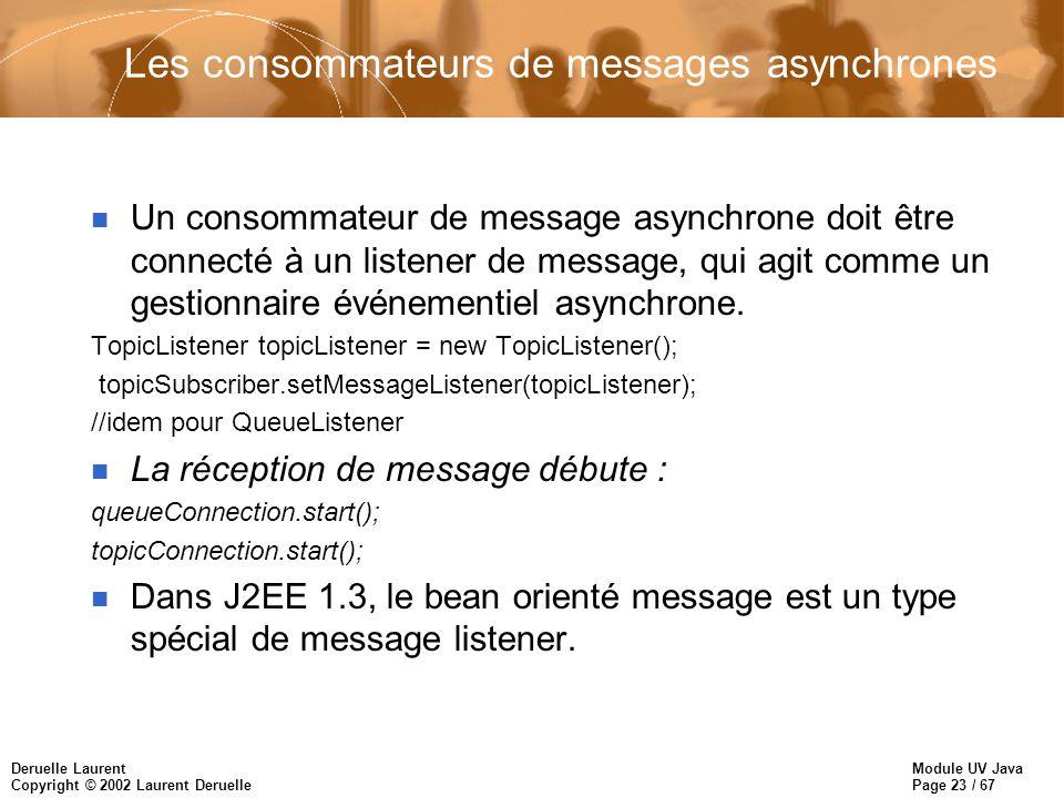 Module UV Java Page 23 / 67 Deruelle Laurent Copyright © 2002 Laurent Deruelle Les consommateurs de messages asynchrones n Un consommateur de message asynchrone doit être connecté à un listener de message, qui agit comme un gestionnaire événementiel asynchrone.