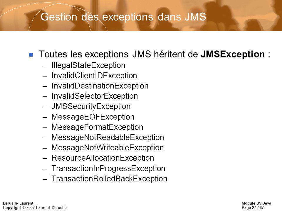 Module UV Java Page 27 / 67 Deruelle Laurent Copyright © 2002 Laurent Deruelle Gestion des exceptions dans JMS n Toutes les exceptions JMS héritent de JMSException : –IllegalStateException –InvalidClientIDException –InvalidDestinationException –InvalidSelectorException –JMSSecurityException –MessageEOFException –MessageFormatException –MessageNotReadableException –MessageNotWriteableException –ResourceAllocationException –TransactionInProgressException –TransactionRolledBackException