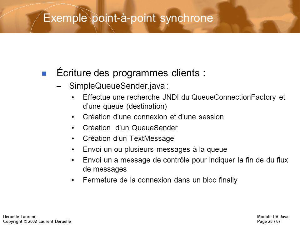 Module UV Java Page 28 / 67 Deruelle Laurent Copyright © 2002 Laurent Deruelle Exemple point-à-point synchrone n Écriture des programmes clients : –Si