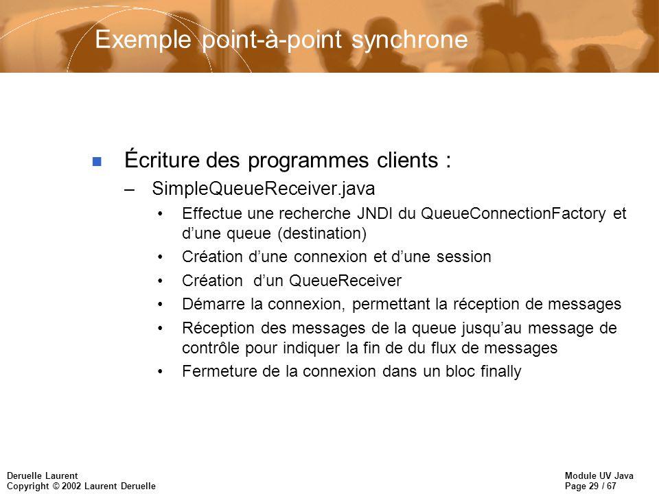 Module UV Java Page 29 / 67 Deruelle Laurent Copyright © 2002 Laurent Deruelle Exemple point-à-point synchrone n Écriture des programmes clients : –Si