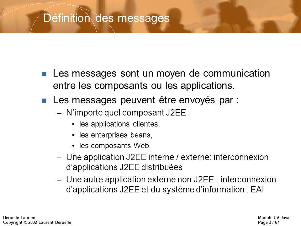 Module UV Java Page 3 / 67 Deruelle Laurent Copyright © 2002 Laurent Deruelle Définition des messages n Les messages sont un moyen de communication entre les composants ou les applications.
