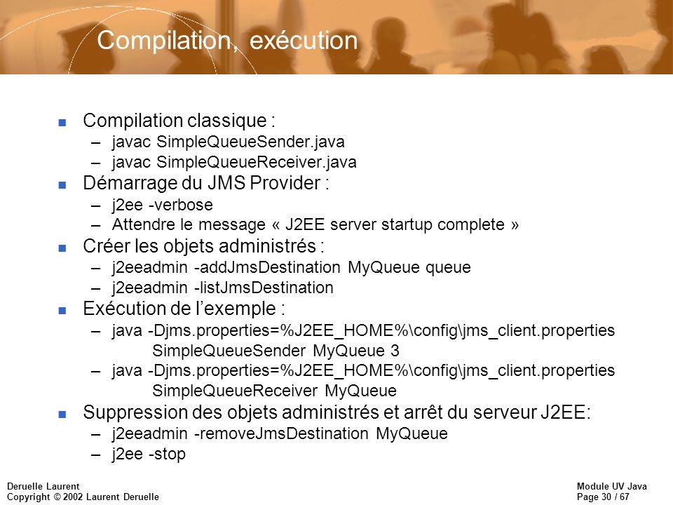 Module UV Java Page 30 / 67 Deruelle Laurent Copyright © 2002 Laurent Deruelle Compilation, exécution n Compilation classique : –javac SimpleQueueSend
