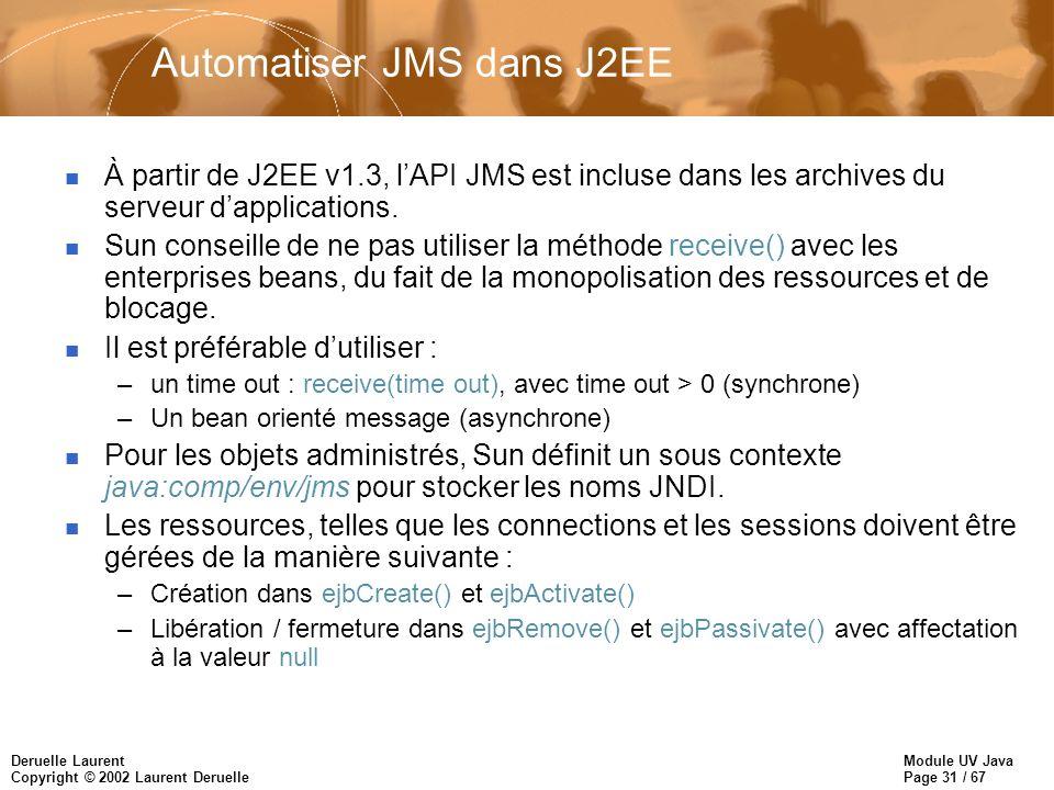 Module UV Java Page 31 / 67 Deruelle Laurent Copyright © 2002 Laurent Deruelle Automatiser JMS dans J2EE n À partir de J2EE v1.3, lAPI JMS est incluse dans les archives du serveur dapplications.