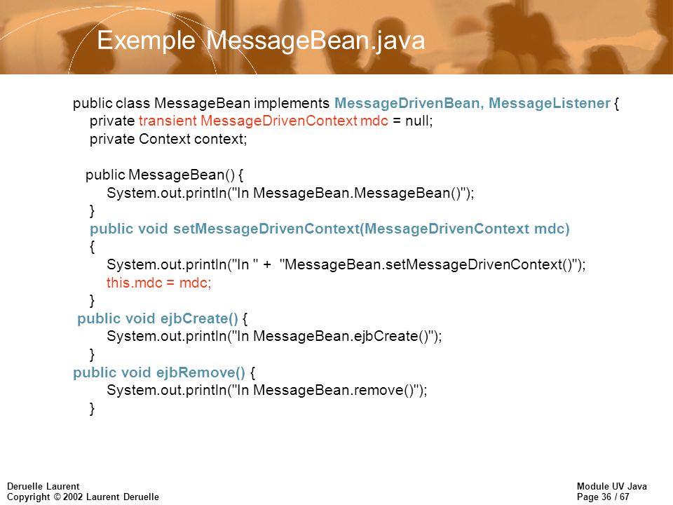 Module UV Java Page 36 / 67 Deruelle Laurent Copyright © 2002 Laurent Deruelle Exemple MessageBean.java public class MessageBean implements MessageDri