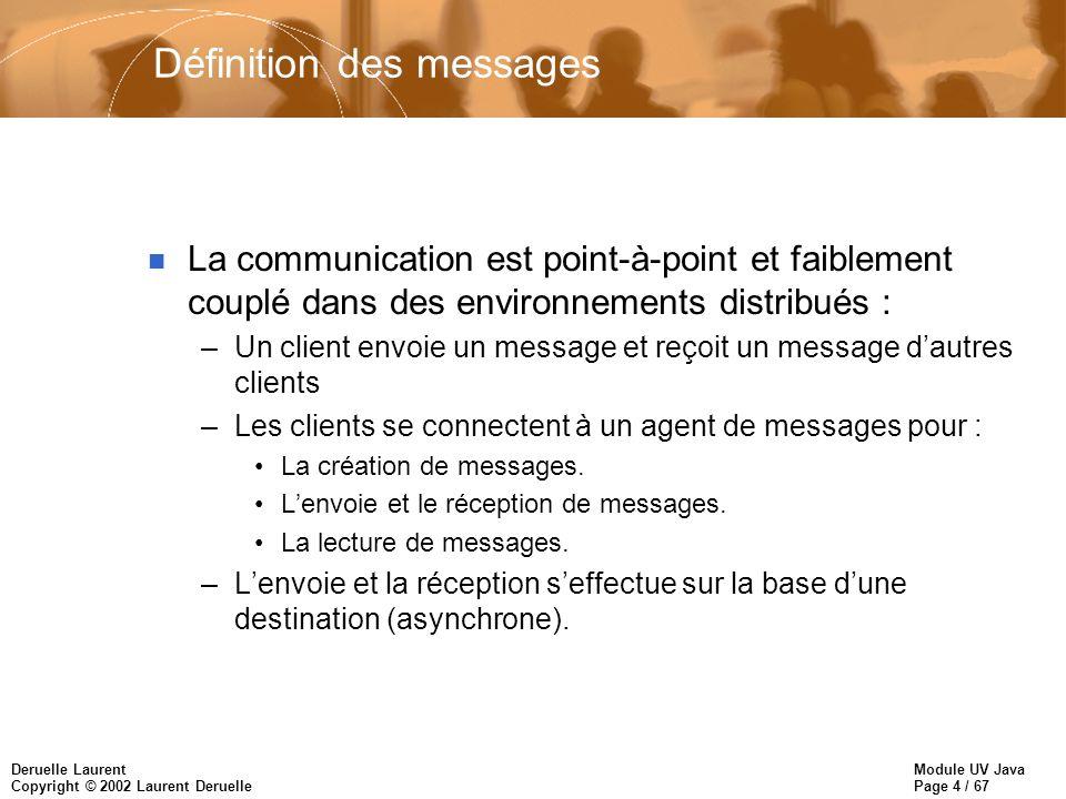 Module UV Java Page 4 / 67 Deruelle Laurent Copyright © 2002 Laurent Deruelle Définition des messages n La communication est point-à-point et faibleme