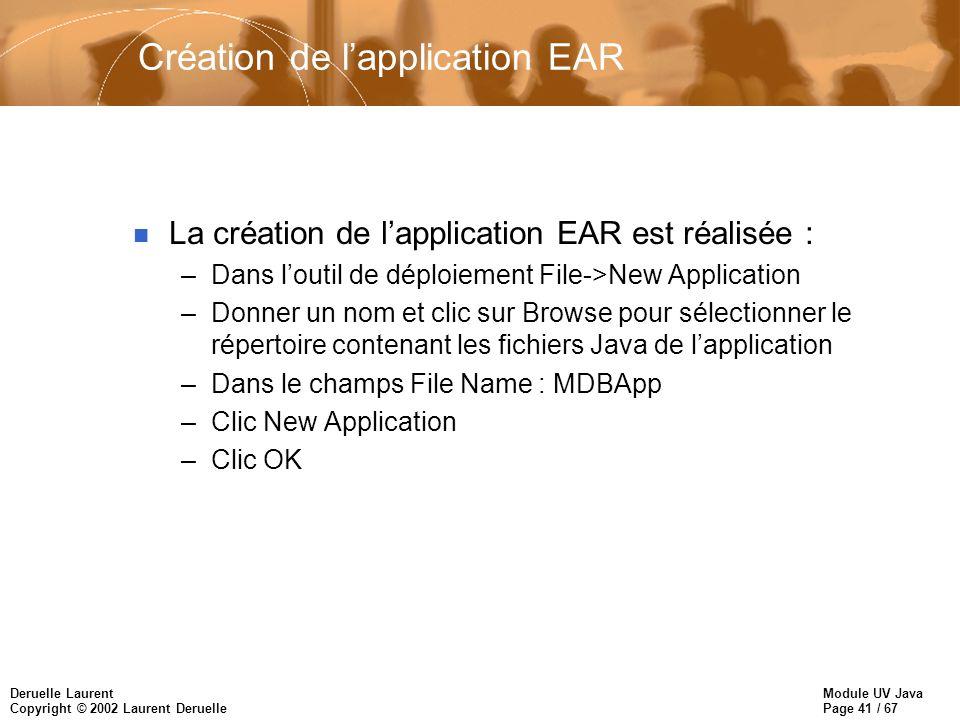 Module UV Java Page 41 / 67 Deruelle Laurent Copyright © 2002 Laurent Deruelle Création de lapplication EAR n La création de lapplication EAR est réal