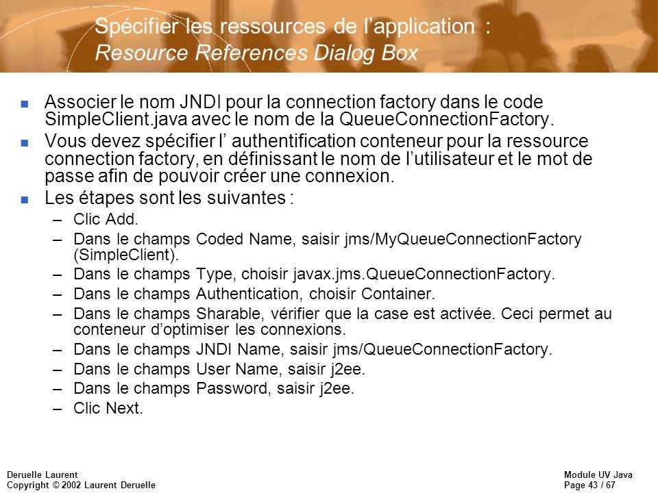 Module UV Java Page 43 / 67 Deruelle Laurent Copyright © 2002 Laurent Deruelle Spécifier les ressources de lapplication : Resource References Dialog Box n Associer le nom JNDI pour la connection factory dans le code SimpleClient.java avec le nom de la QueueConnectionFactory.