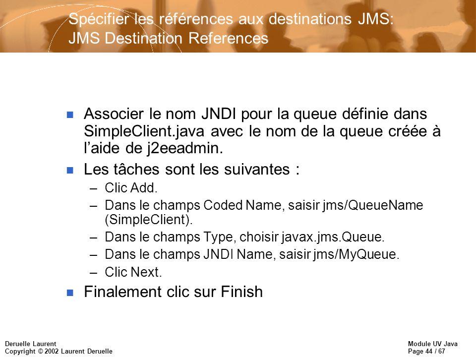 Module UV Java Page 44 / 67 Deruelle Laurent Copyright © 2002 Laurent Deruelle Spécifier les références aux destinations JMS: JMS Destination References n Associer le nom JNDI pour la queue définie dans SimpleClient.java avec le nom de la queue créée à laide de j2eeadmin.