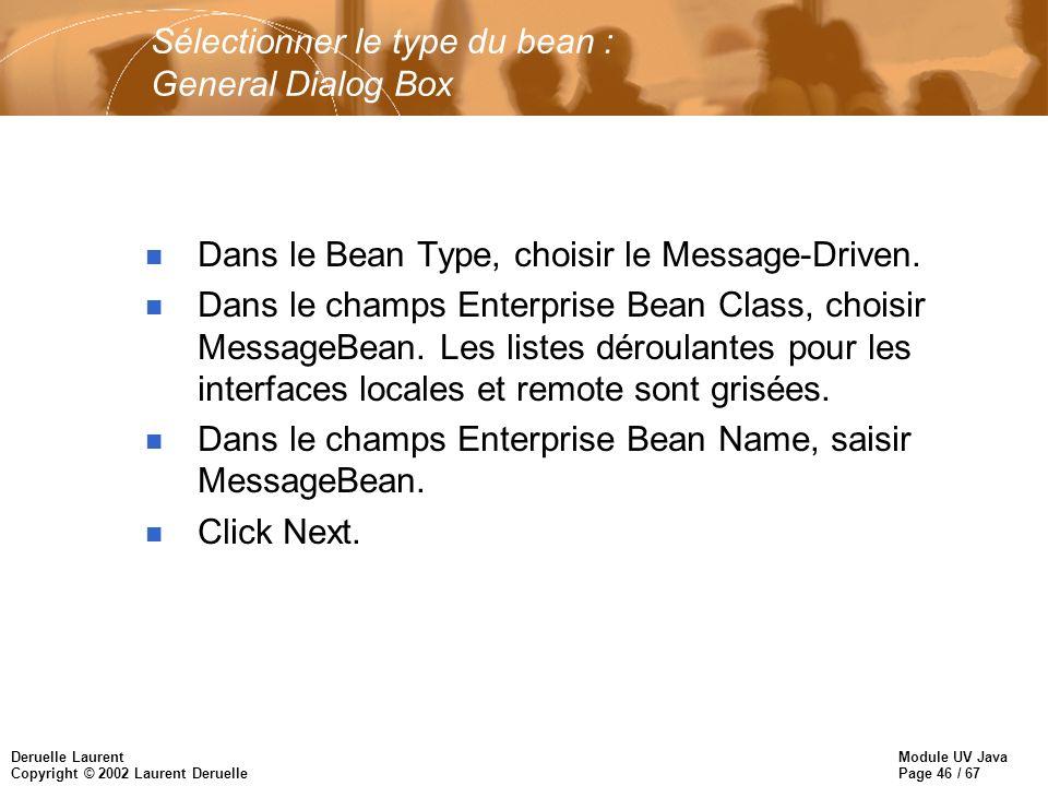Module UV Java Page 46 / 67 Deruelle Laurent Copyright © 2002 Laurent Deruelle Sélectionner le type du bean : General Dialog Box n Dans le Bean Type, choisir le Message-Driven.