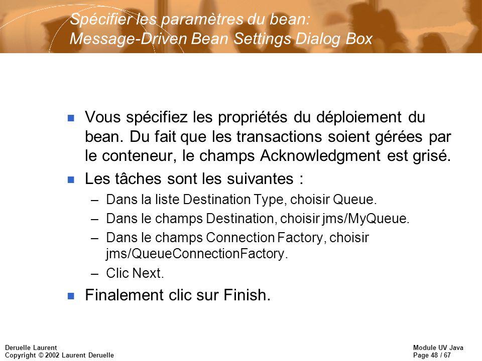 Module UV Java Page 48 / 67 Deruelle Laurent Copyright © 2002 Laurent Deruelle Spécifier les paramètres du bean: Message-Driven Bean Settings Dialog B