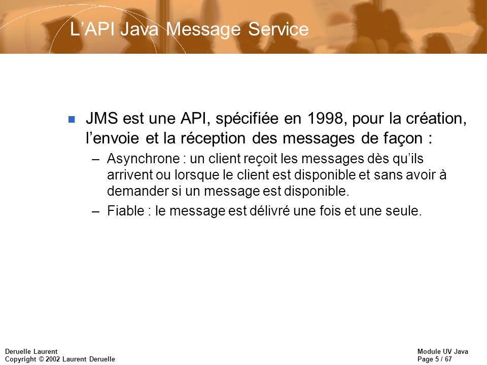 Module UV Java Page 5 / 67 Deruelle Laurent Copyright © 2002 Laurent Deruelle LAPI Java Message Service n JMS est une API, spécifiée en 1998, pour la création, lenvoie et la réception des messages de façon : –Asynchrone : un client reçoit les messages dès quils arrivent ou lorsque le client est disponible et sans avoir à demander si un message est disponible.