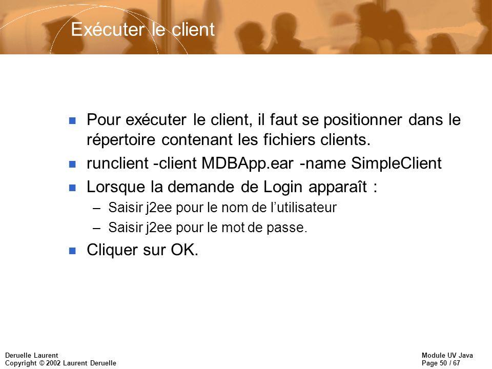 Module UV Java Page 50 / 67 Deruelle Laurent Copyright © 2002 Laurent Deruelle Exécuter le client n Pour exécuter le client, il faut se positionner dans le répertoire contenant les fichiers clients.