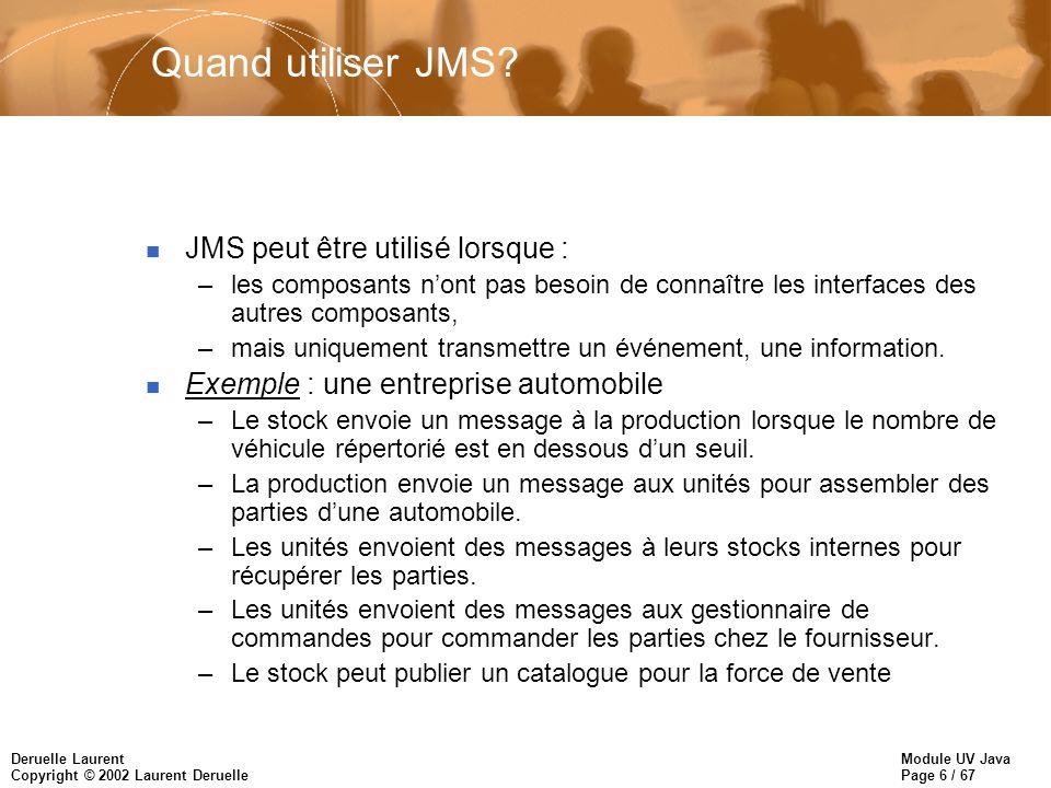 Module UV Java Page 6 / 67 Deruelle Laurent Copyright © 2002 Laurent Deruelle Quand utiliser JMS? n JMS peut être utilisé lorsque : –les composants no