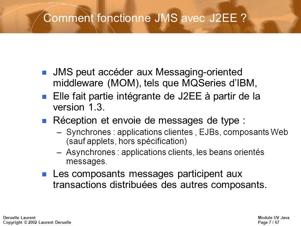 Module UV Java Page 7 / 67 Deruelle Laurent Copyright © 2002 Laurent Deruelle Comment fonctionne JMS avec J2EE ? n JMS peut accéder aux Messaging-orie